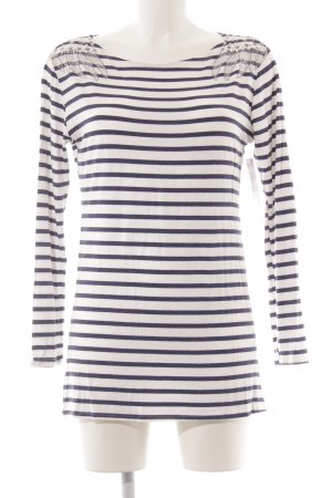 Gestreept shirt wit-donkerblauw gestreept patroon casual uitstraling