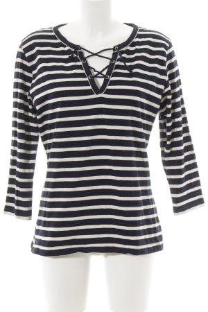 T-shirt rayé blanc cassé-bleu foncé motif rayé style marin