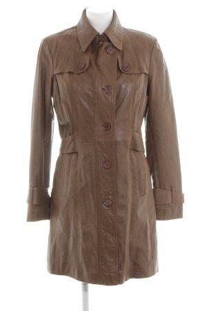 Rino & Pelle Manteau en cuir brun style décontracté