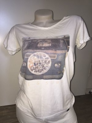 Ripcurl T-Shirt Damen XS S 36 Top Bulli VW Bus T1 Shirt Surf Rip Curl Weiß