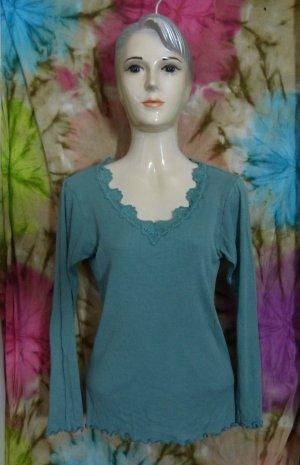 Ripp Shirt, V Ausschmitt, Seide, Spitze, blau-grün, Gr. 38/M