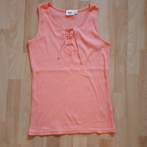 Ripp Top Shirt mit Schnürung - apricot- lachsrosa - 36/38 - NEU