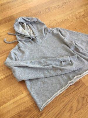 Ripped crop top hoodie