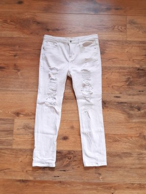 Ripped Destroyed Boyfriend Jeans weiß Gr. S/M