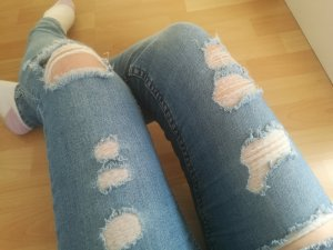 H&M Pantalón de cintura alta azul claro-azul celeste