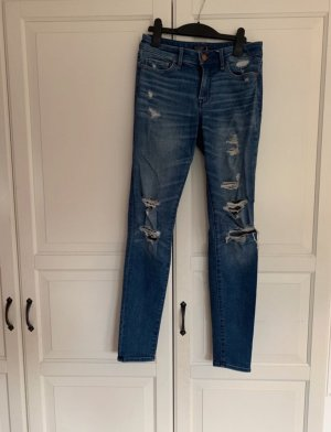 Abercrombie & Fitch Hoge taille jeans donkerblauw-korenblauw