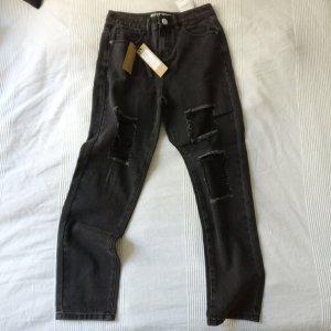 Ripped Jeans cut out dunkelgrau NEU