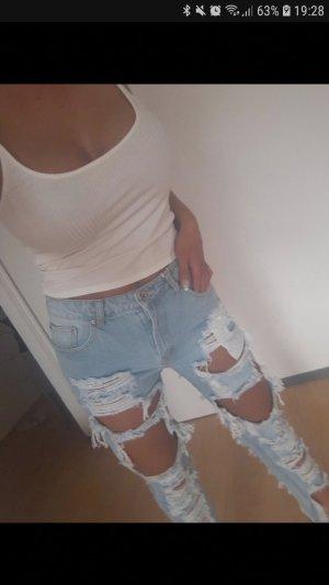 Pantalon taille haute bleu clair-bleu azur