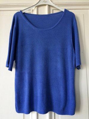 Ripped Top Kurzarm Shirt Rundhals Baumwolle Blau Strukturmuster Trend Blogger