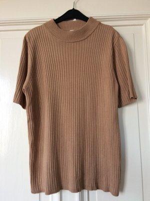 Ripped Top Shirt kurzarm braun Ringelshirt Baumwolle Turtleneck Rippenstruktur
