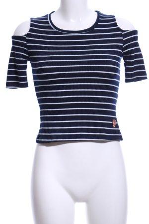 Rippshirt dunkelblau-weiß Streifenmuster Casual-Look