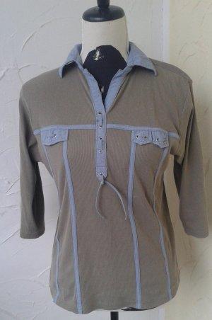 Geribd shirt khaki-lichtblauw