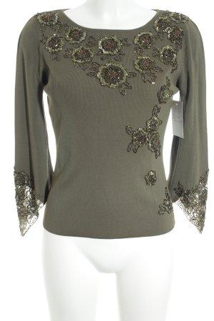 Rippshirt khaki florales Muster extravaganter Stil