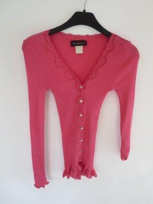 Rippshirt pink mit Spitzendetails Seide/Baumwolle
