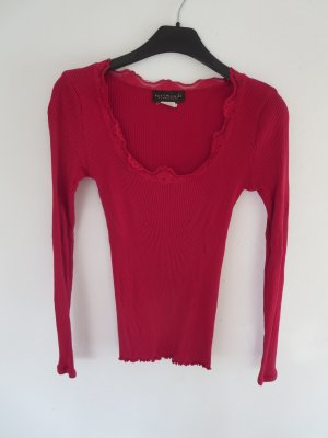 Rippshirt rot mit Spitzendetails Seide/Baumwolle