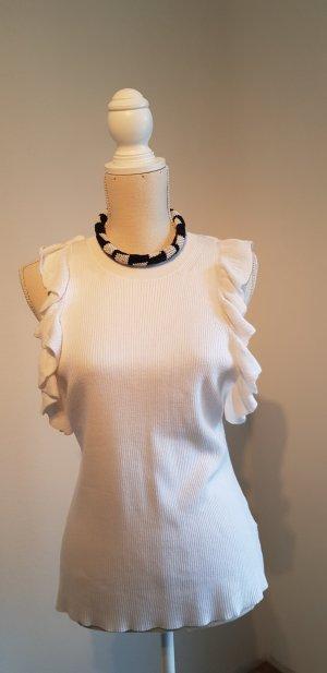 Top lavorato a maglia bianco