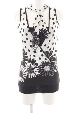 Risskio Cowl-Neck Top white-black mixed pattern vintage look