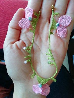 Anklet light pink-lime-green