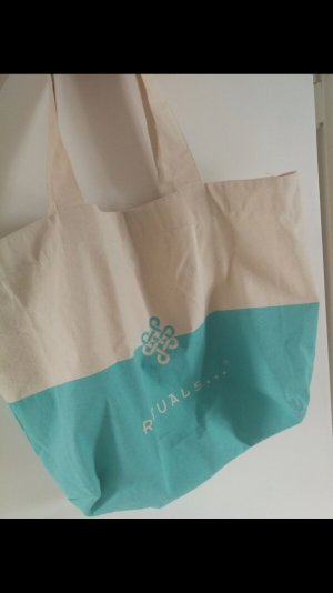 rituals Canvas Bag natural white-turquoise