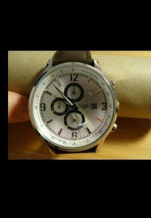 Reloj automático color plata-marrón Cuero