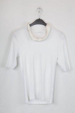 Rivamonti Shirt Rippshirt Gr. L weiß mit hellbeigem Seidenkragen (18/5/162)