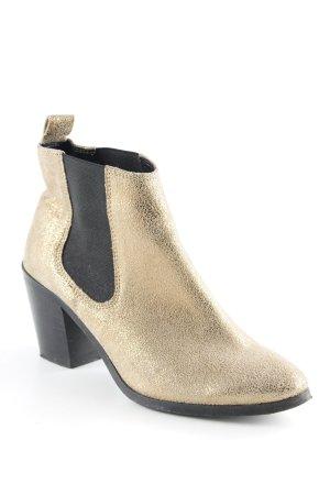 River Island Ankle Boots goldfarben-schwarz Metallic-Optik