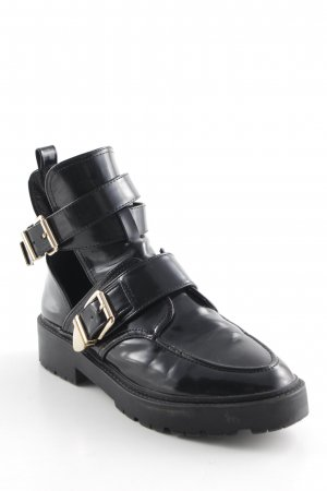 River Island Ankle Boots schwarz-goldfarben Street-Fashion-Look