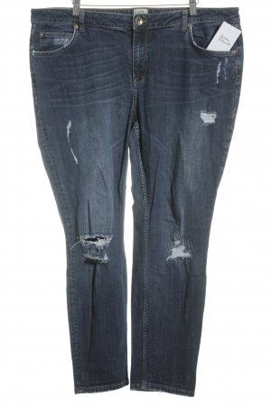 River Island Boyfriendjeans blau Destroy-Optik