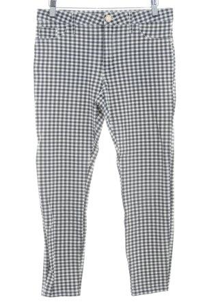 River Island Pantalón capri gris oscuro-blanco estampado a cuadros