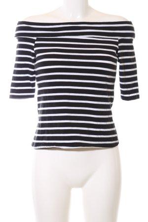 River Island Carmen shirt zwart-wit gestreept patroon casual uitstraling