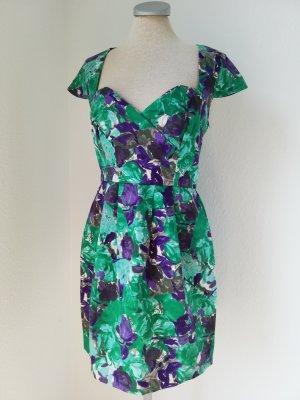 River Island Etuikleid Kleid Baumwolle grün lila Retro Gr. UK 10 EUR 36 S Rockabilly Kurzarm kurz
