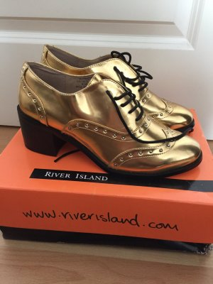River Island Gold Loafers mit Absatz