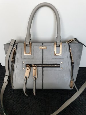 River Island Handtasche shopper Tote bag fashion Umhängetasche grey silber silver gold