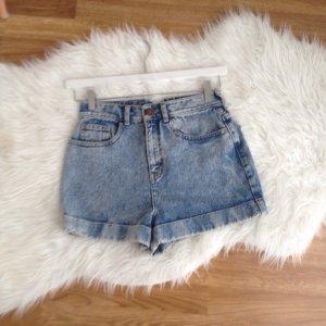 RIVER ISLAND High Waist Jeans Shorts 36 Hot Pants Highwaisted Acid Boyfriend