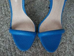 River Island Platform High-Heeled Sandal cornflower blue leather