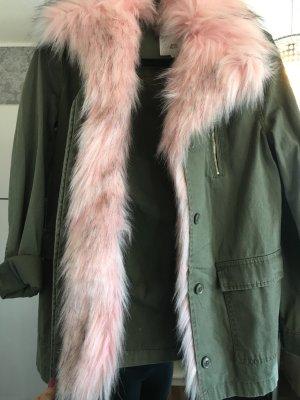 River Island Giacca di pelliccia cachi-rosa