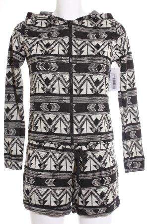 River Island Jumpsuit schwarz-hellbeige Aztekenmuster sportlicher Stil