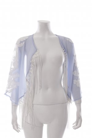 River Island Kimono himmelblau-weiß Blumenmuster Boho-Look