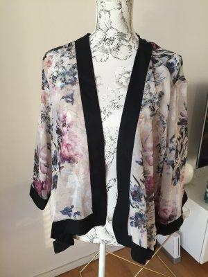 River Island Kimono schwarz beige mit Blumenmuster Gr XL