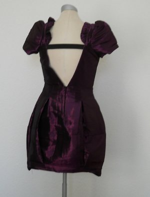 River Island Kleid metalic lila Minikleid rücknfrei Gr. UK 8 34 36 Abiball