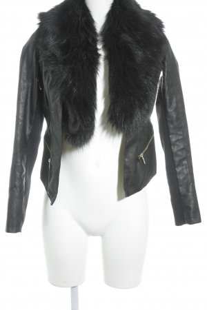 River Island Faux Leather Jacket black biker look