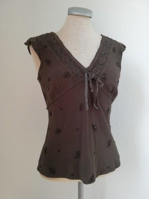 River Island kurzarm Top Oberteil braun Spitze Satin Gr. 34 UK 8 hippie goa
