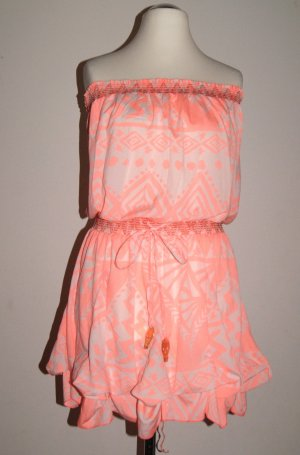 River Island kurzes Bandeau-Kleid im Ethno-Style, apricot, Gr. L (Gr. 40)