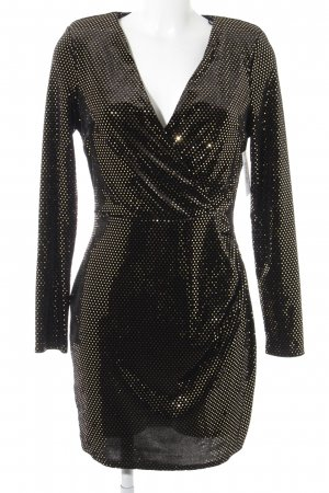 River Island Langarmkleid goldfarben-schwarz Punktemuster Party-Look