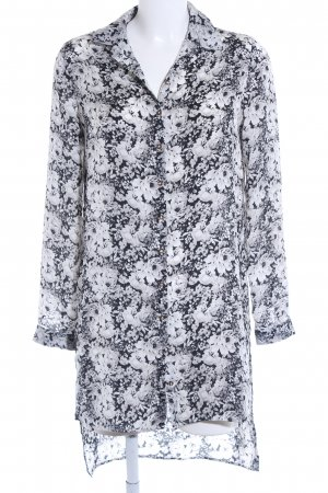 River Island Blusa larga negro-blanco estampado floral look casual