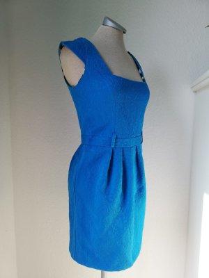 River Island Minikleid Kleid kurz mini Gr. UK 8 EUR 34 XS hellblau Brokat Tulpenkleid Etuikleid