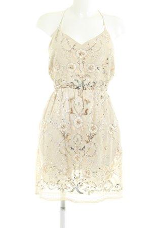 River Island Vestido de lentejuelas crema-nude estampado floral elegante