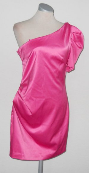 River Island Party Kleid satin pink oneshoulder Minikleid gerafft UK 12 EUR 38