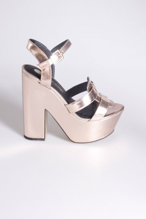 River Island Plateau Sandals Rose Metallic