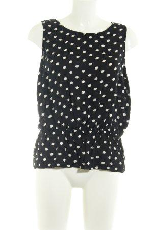 River Island Peplum top wit-zwart gestippeld patroon casual uitstraling